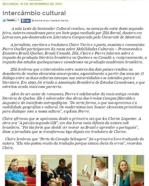 Intercâmbio Cultural Feira do Livro de Porto Alegre 2014