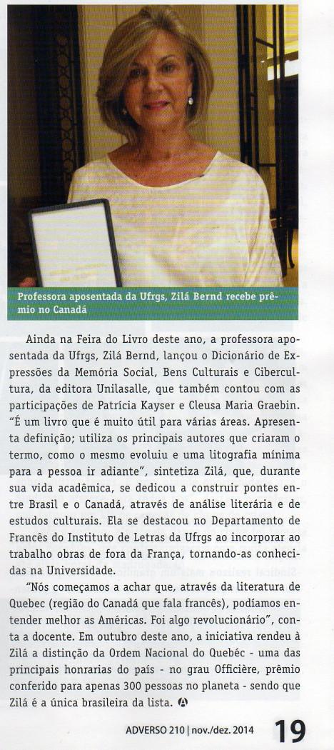Professora aposentada da UFRS, Zilá Bernd, recebe prêmio no Canadá
